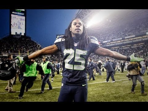 Seattle Seahawks cornerback Richard Sherman celebrates (Flickr: zennie62)