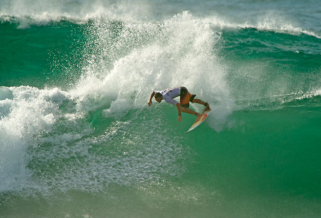Former ASP World Champion Joel Parkinson surfing in Newcastle Harbour at Surfest 2013