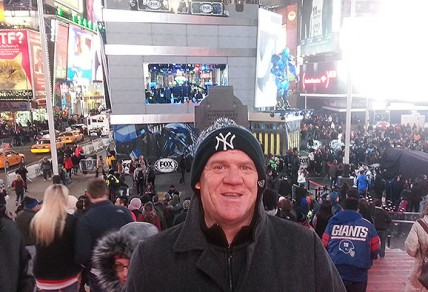 The Roar's Greg Prichard in New York's Times Square before Super Bowl XLVIII. Photo: Greg Prichard