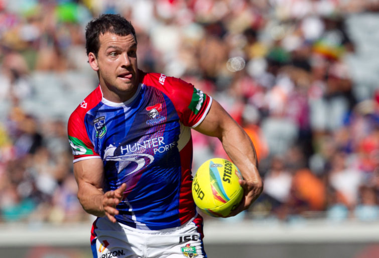 Knights player Jarrod Mullen during the NRL Auckland Nines. (AAP Image/SNPA, Teaukura Moetaua)