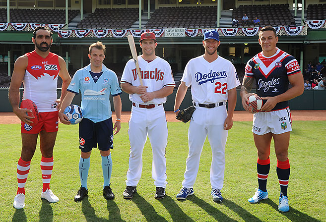 Diamondbacks first baseman Paul Goldschmidt (centre) with the Sydney Swans' Adam Goodes (left), Sydney FC's Alessandro Del Piero (2nd from left) and Sydney Roosters' Sonny Bill WIlliams (right) at the Sydney Cricket Ground.