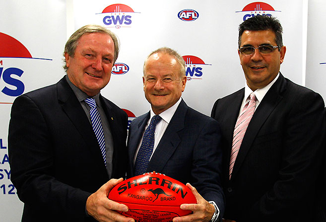 Newly appointed GWS Chairman Tony Shepherd with GWS coach Kevin Sheedy [left], and Andrew Demetriou during a GWS press conference at the Sydney Football Stadium in Sydney.
