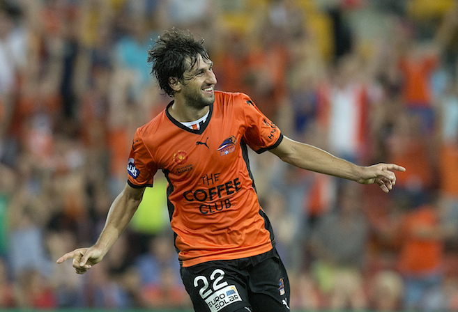 Thomas Broich celebrates a goal for the Roar