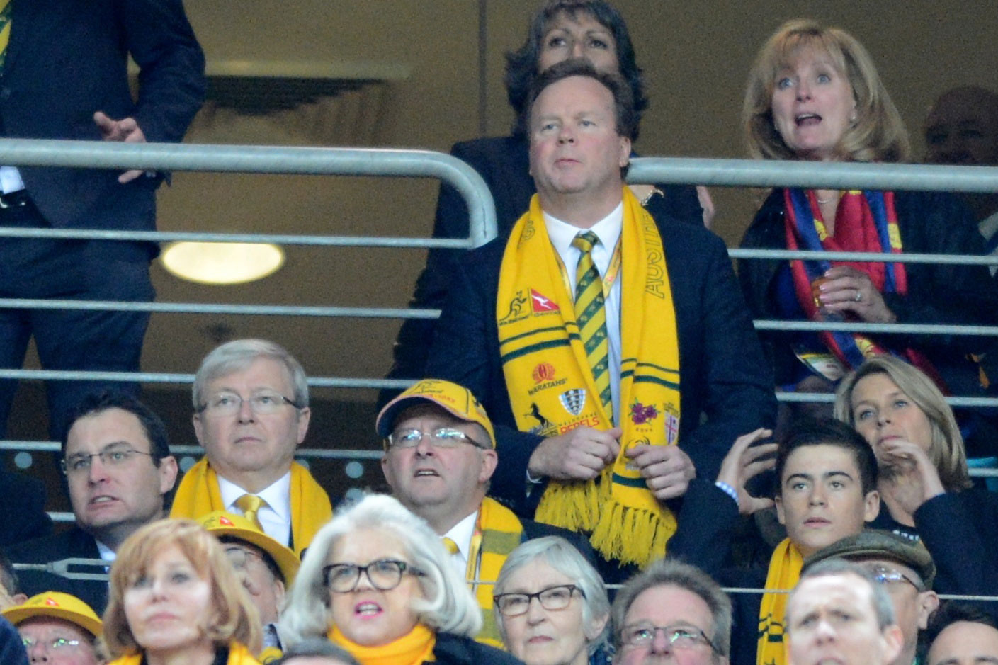 Prime Minister Kevin Rudd, Deputy Prime Minister Anthony Albanese and ARU boss Bill Pulver during the third Test match between the British and Irish Lions and the Wallabies at ANZ Stadium in Sydney, Saturday, July 6, 2013. (AAP Image/Dean Lewins)