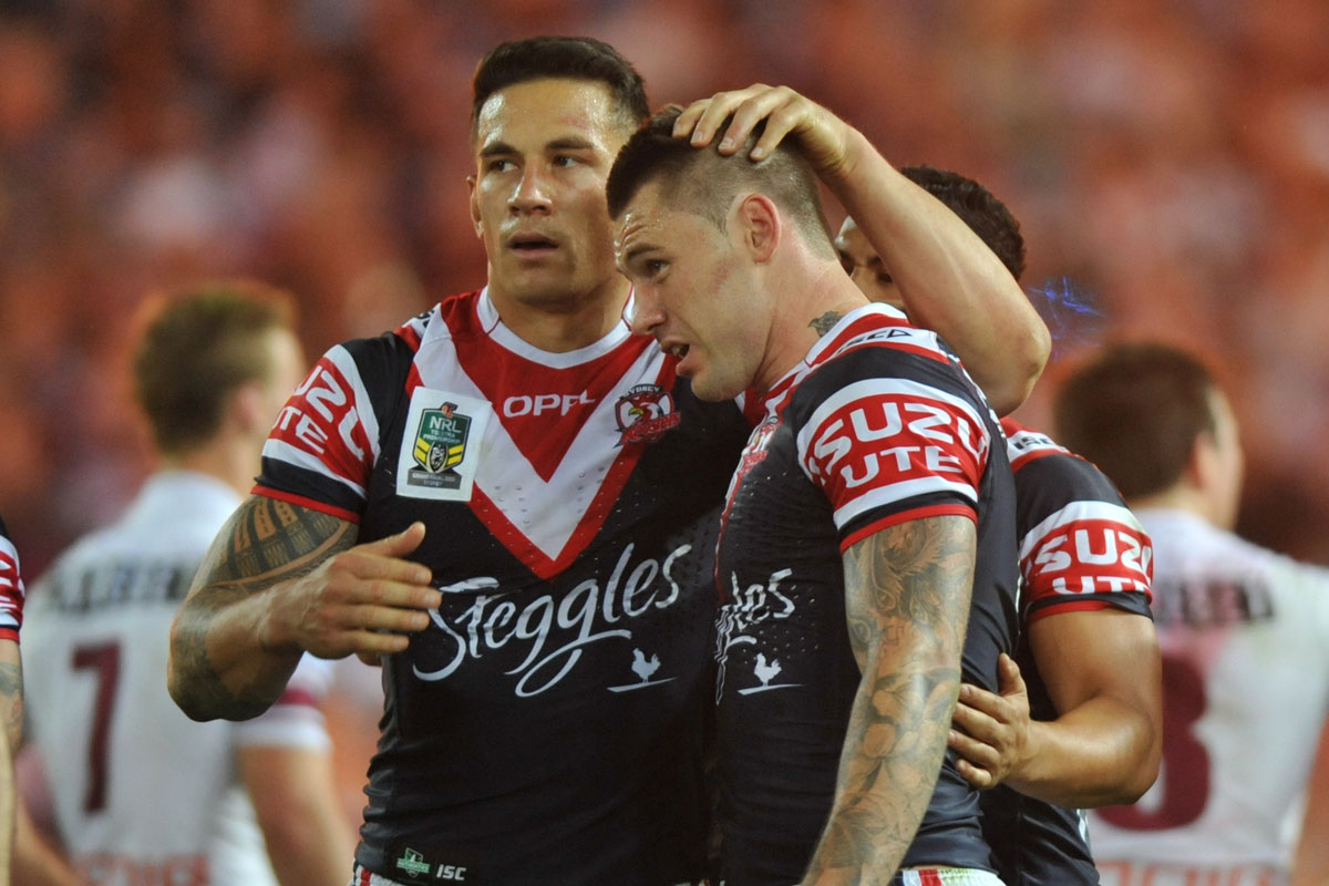Roosters' Shaun Kenny-Dowall (right) celebrates with Sonny Bill Williams after scoring. (AAP Image/Paul Miller)