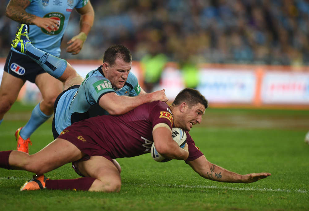 Matt Gillett takes it to ground in Origin 2 (Photo: @NRLPhotos)
