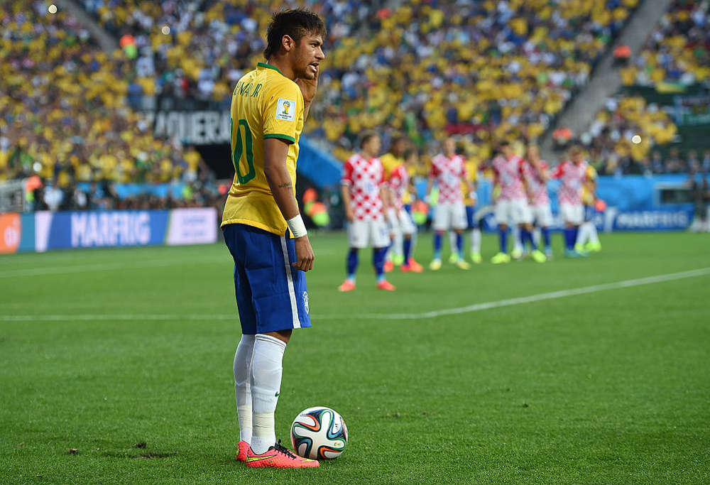 Brazil star Neymar against Croatia at the 2014 FIFA World Cup (Wiki Commons)