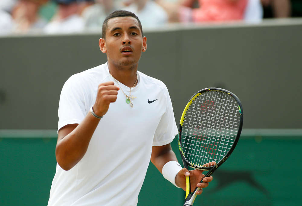 Nick Kyrgios celebrates his win over Richard Gasquet at Wimbledon