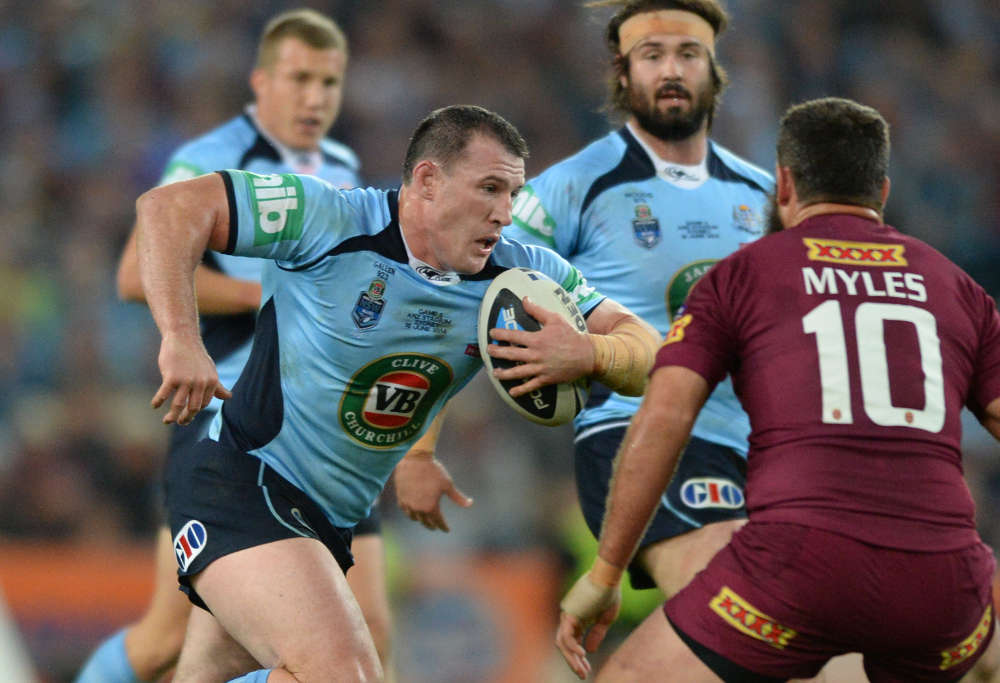 Paul Gallen takes up the ball in Origin 2