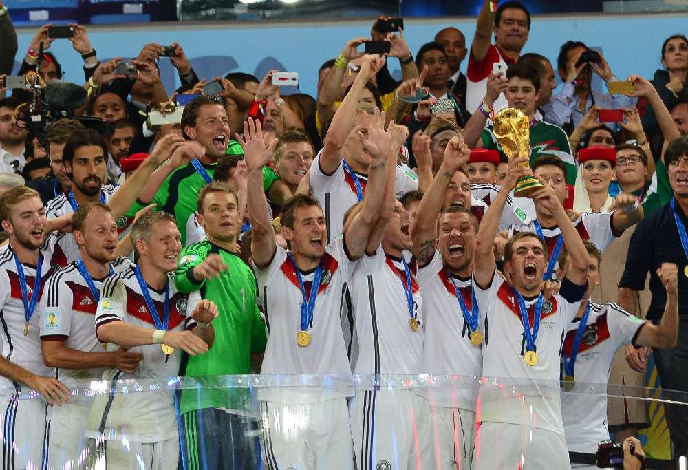 Germany celebrate winning the World Cup