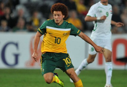 Mustafa Amini playing for the Young Socceroos