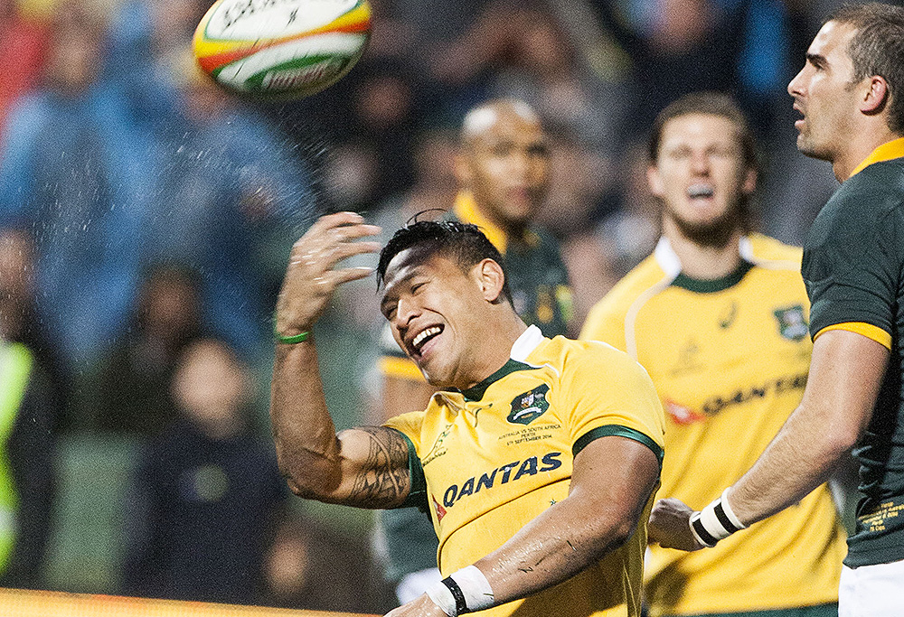 Israel Folau for the Wallabies celebrates his try during the Rugby Championship match between the Australian Wallabies and South Africa's Springboks at Patersons Stadium in Perth, Sept. 6, 2014. (AAP Image/Tony McDonough)