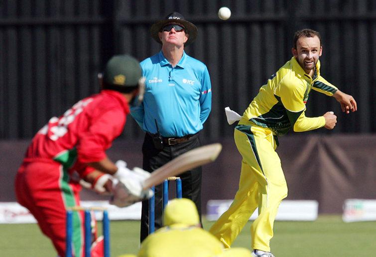 Australia's Nathan Lyon bowls