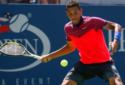 Frustrated Kyrgios in no man's land, with two options