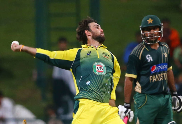 Glenn Maxwell bowling against Pakistan