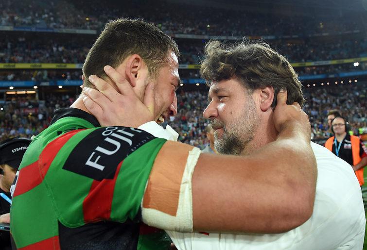 Sam Burgess hugged by Russell Crowe