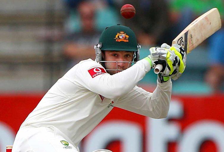 Phil Hughes ducks under a bouncer