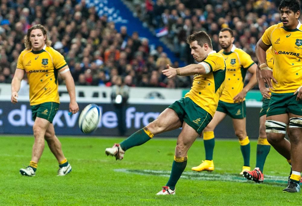 Wallaby Bernard Foley kicks for touch