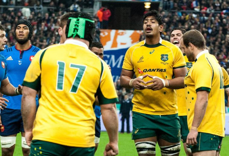 Wallaby lock Will Skelton in the lineout against France. (Image. Tim Anger)