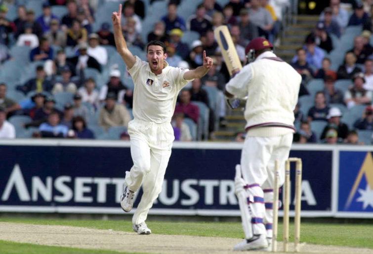 Australian pace bowler Jason Gillespie celebrates