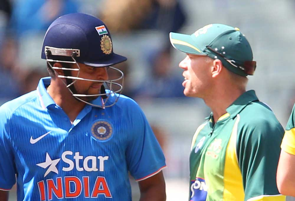 David Warner has words with Indian batsman Rohit Sharma