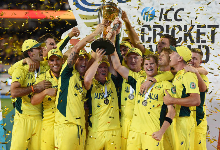 Australia celebrate winning the Cricket World Cup