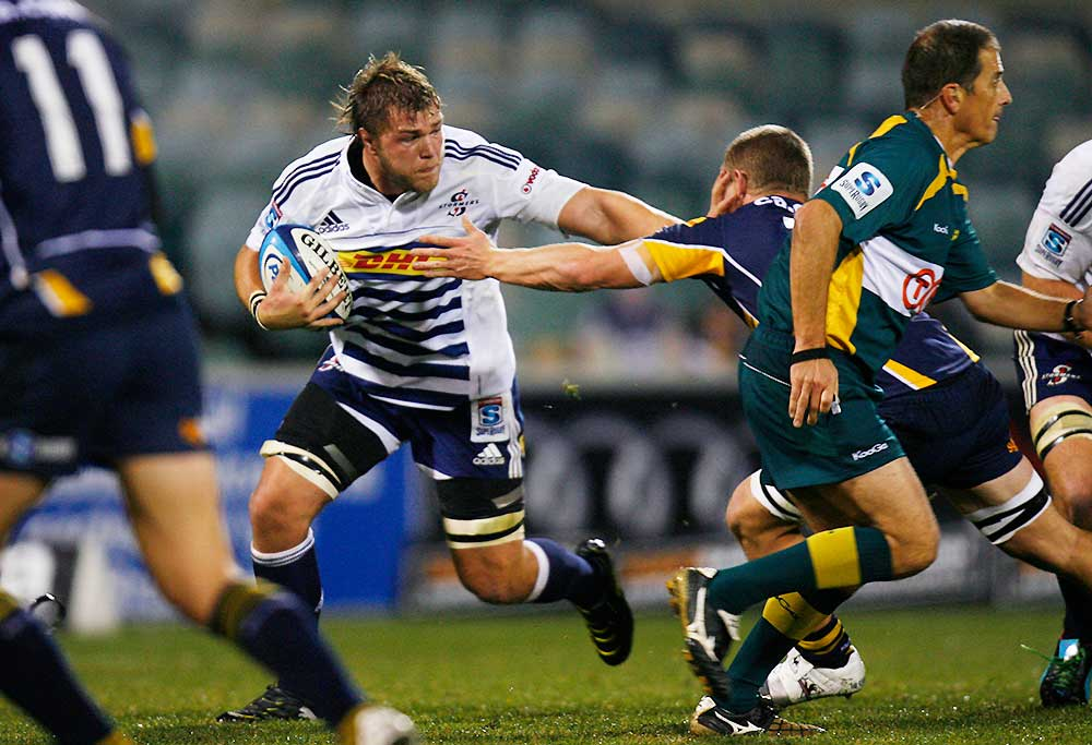 Duane Vermeulen of the Stormers of South Africa charges through Brumbies defense