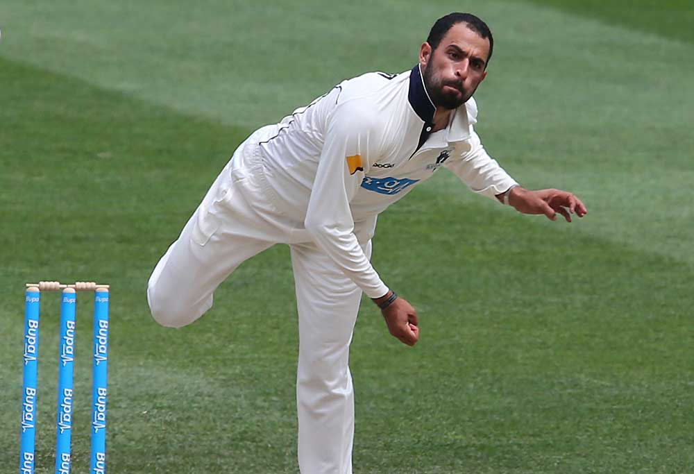 Fawad Ahmed bowling for the Bushrangers