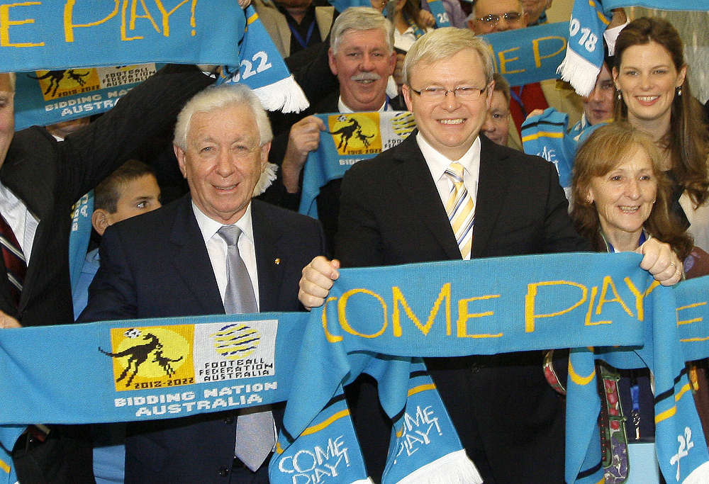 Prime Minister Kevin Rudd center, and FFA Chairman Frank Lowy