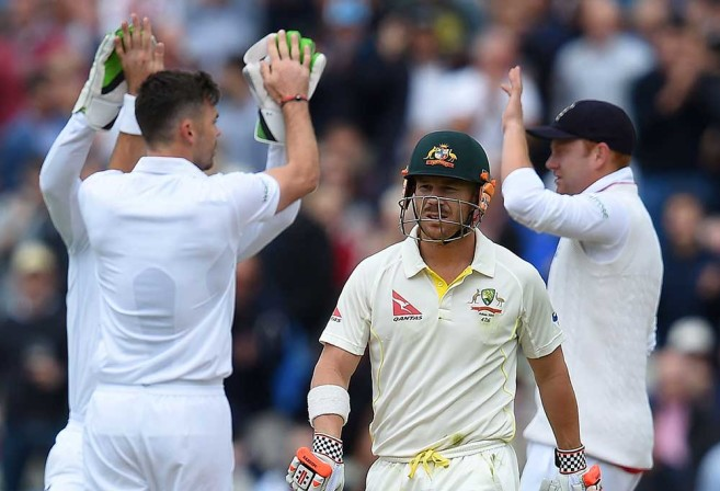 David Warner leaves the crease after losing his wicket