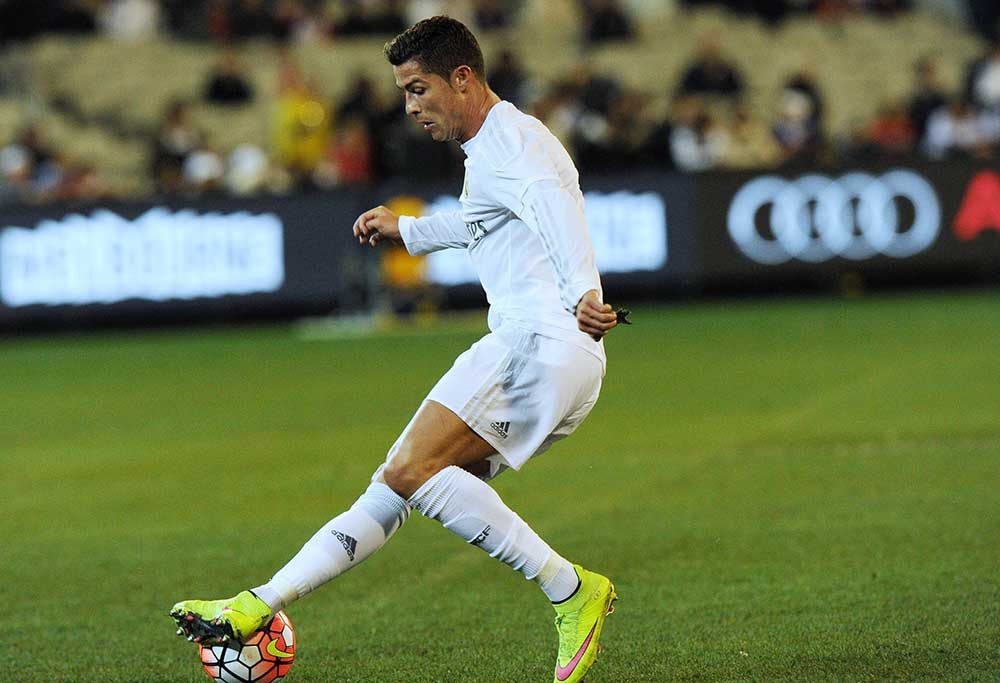 Real Madrid's forward Cristiano Ronaldo controls the ball