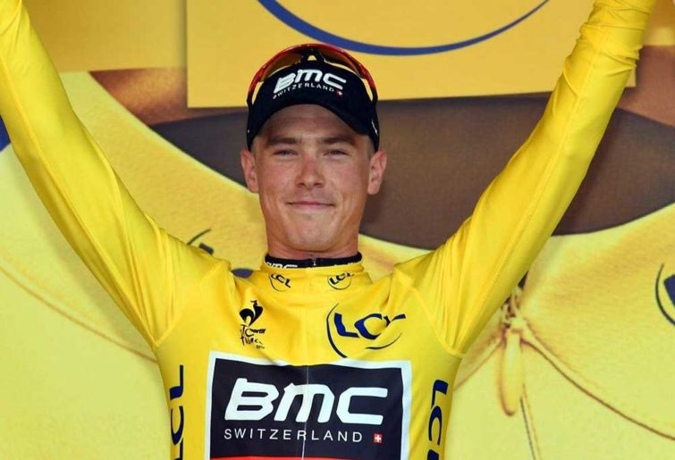 Rohan Dennis in the yellow jersey