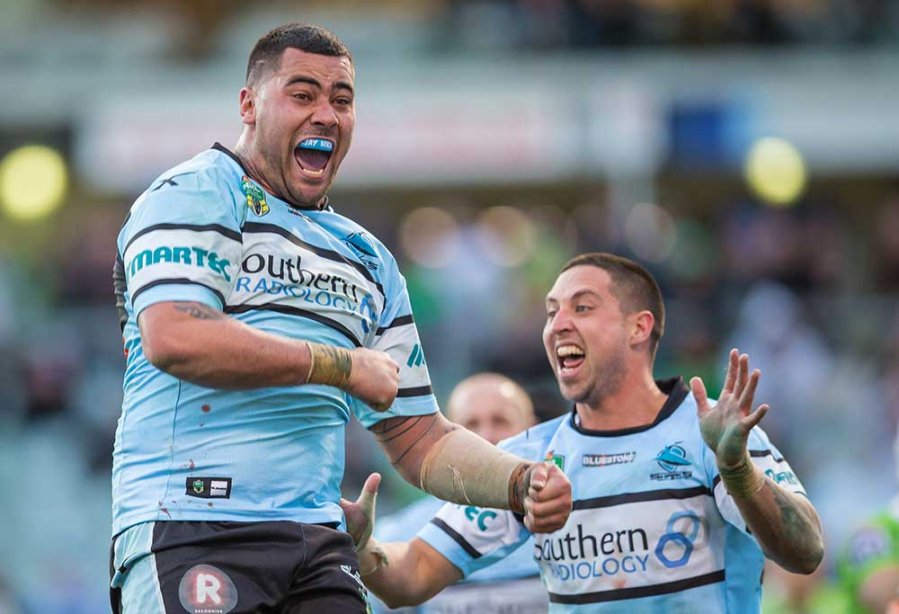 Andrew Fifita of the Cronulla-Sutherland Sharks celebrates