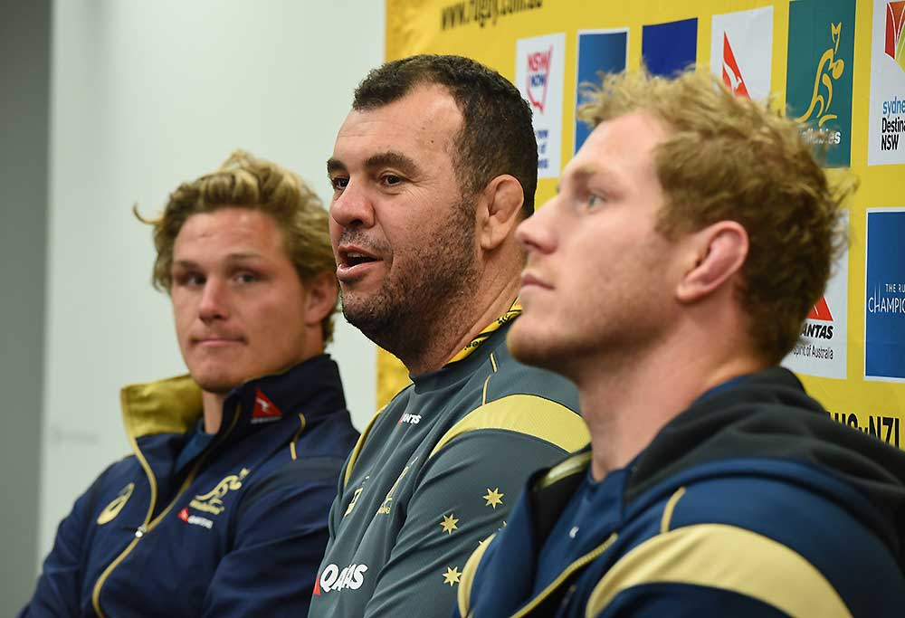 Wallabies coach Michael Cheika with Michael Hooper and David Pocock