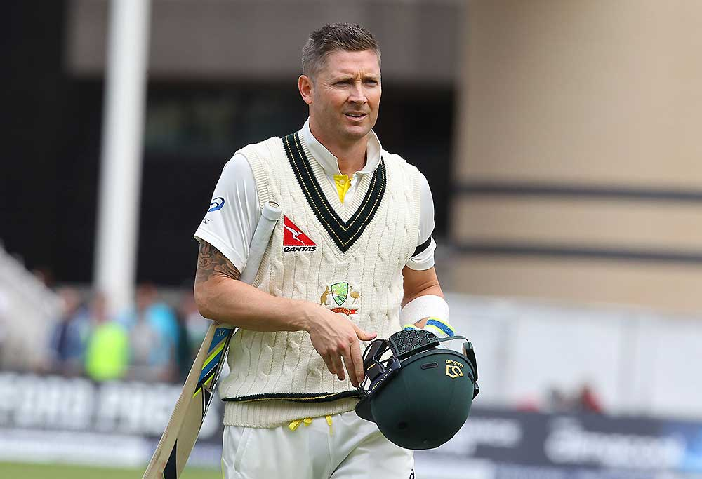 Australia captain Michael Clarke leaves the crease after losing his wicket
