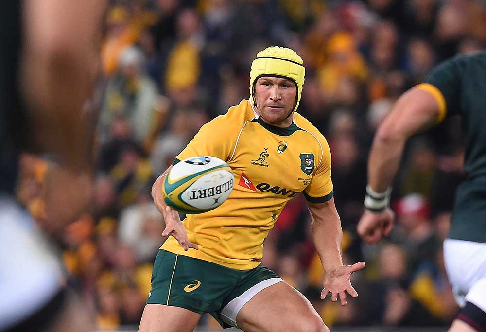Wallabies player Matt Giteau receives the ball