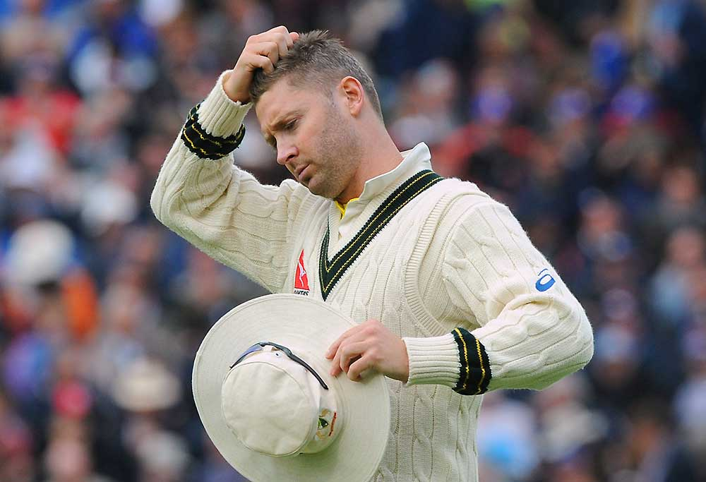 Australia captain Michael Clarke scratches his head