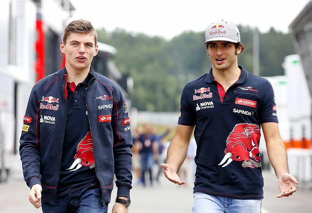Max Verstappen and Carlos Sainz of Scuderia Toro Rosso