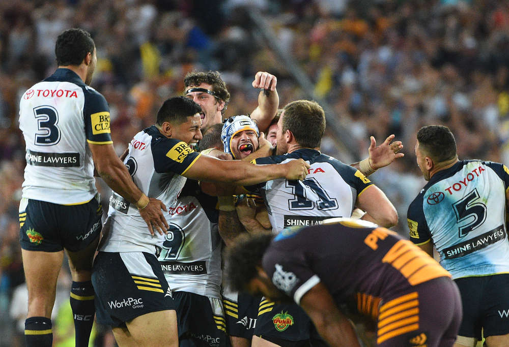 Cowboys Jonathan Thurston celebrates winning the 2015 NRL Grand Final