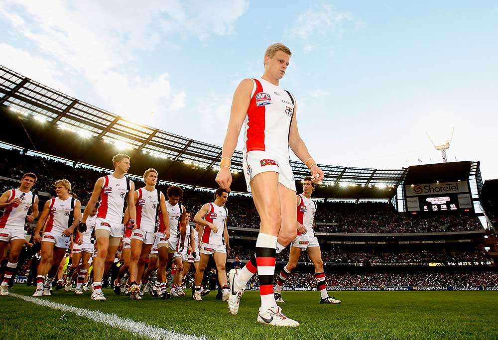 St Kilda captain Nick Riewoldt leads his players from the field