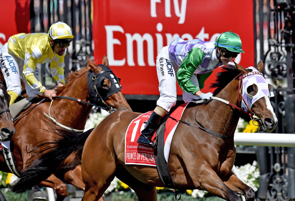 Jockey Michelle Payne riding Prince Of Penzance crosses the finish line to win the $6,000,000 Melbourne Cup race at Flemington Racecourse in Melbourne, on Tuesday, Nov. 3, 2015.(AAP Image/Julian Smith)