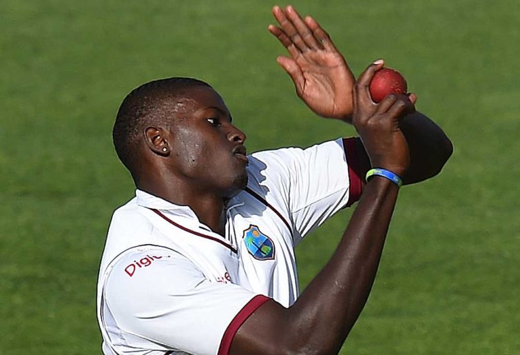 West Indies captain Jason Holder bowls