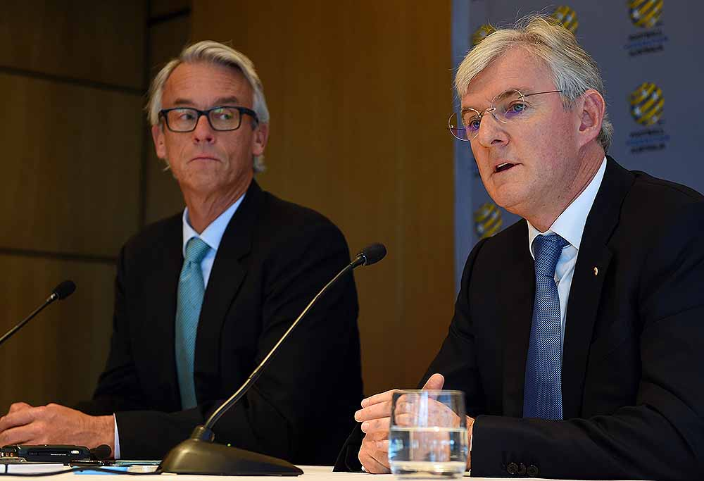 Football Federation of Australia (FFA) CEO David Gallop (left) and newly elected Chairperson Steven Lowy