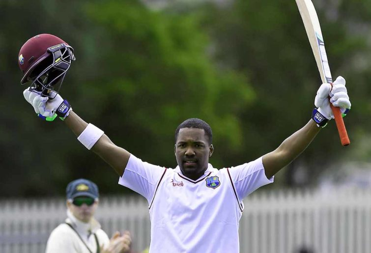 West Indies' Darren Bravo celebrates after scoring a century against Australia