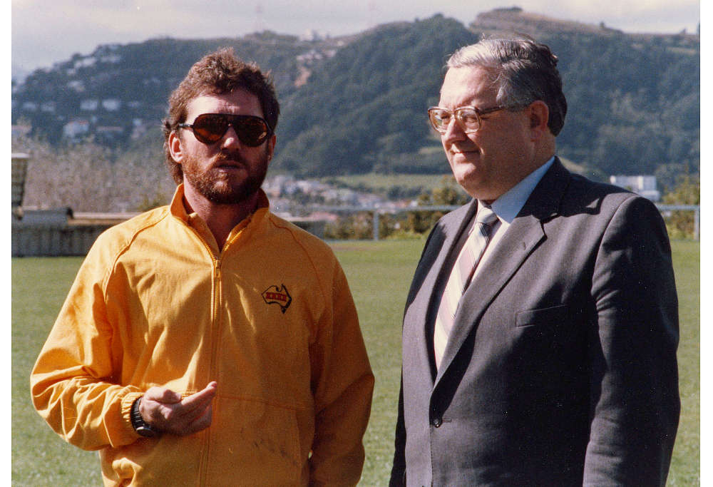 Allan Border in his XXXX jacket and with a bit of beard.
