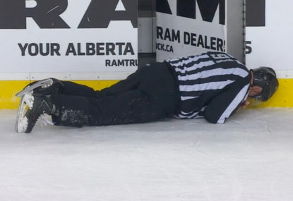 WATCH: NHL star absolutely levels referee with huge hit