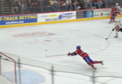 WATCH: Hockey player makes once-in-a-lifetime 'superman' save