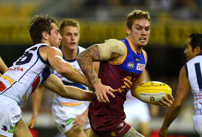 Dayne Beams with possession for Brisbane Lions