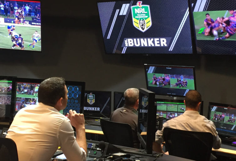 Three refs in the NRL's video bunker