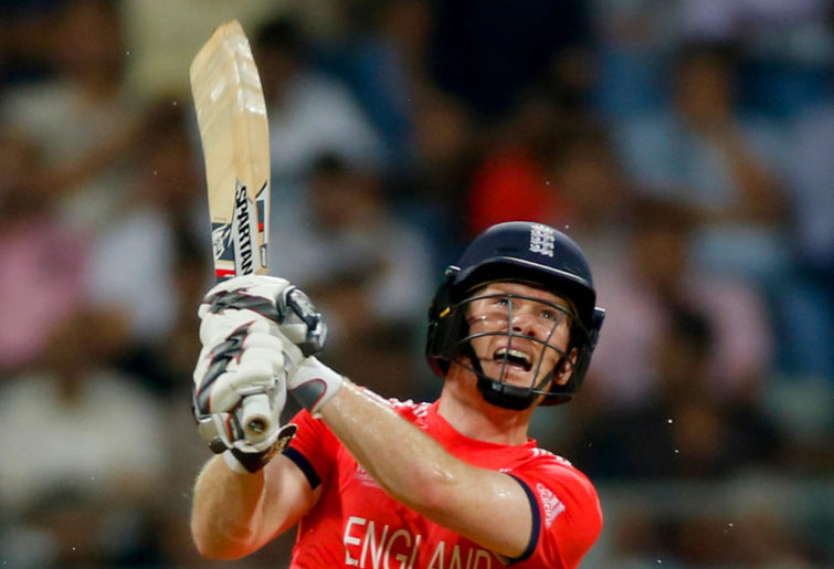 England's captain Eoin Morgan bats